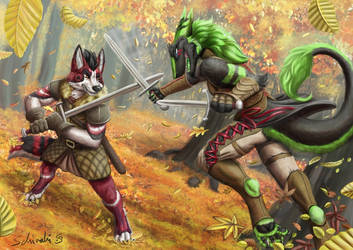 Sparring match in the woods by Schiraki
