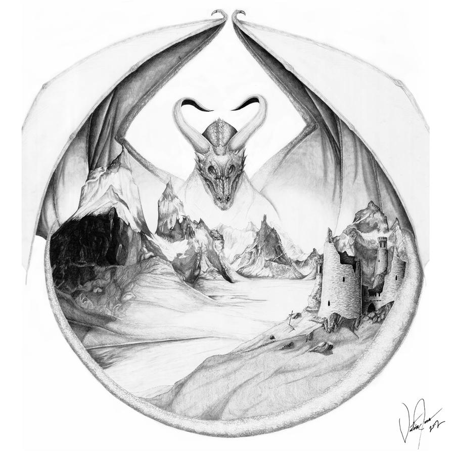 Dragon Landscape by LadyovBelial