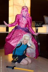 Finn in Bubblegum's skirt at Anime Midwest 2014