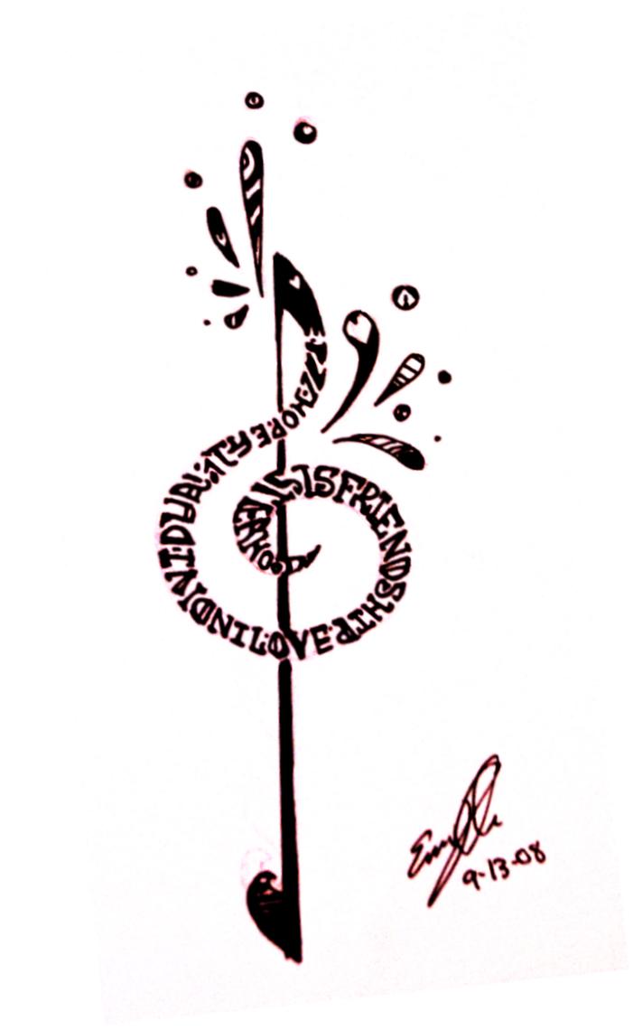 treble clef tattoo by ylimes on deviantart. Black Bedroom Furniture Sets. Home Design Ideas