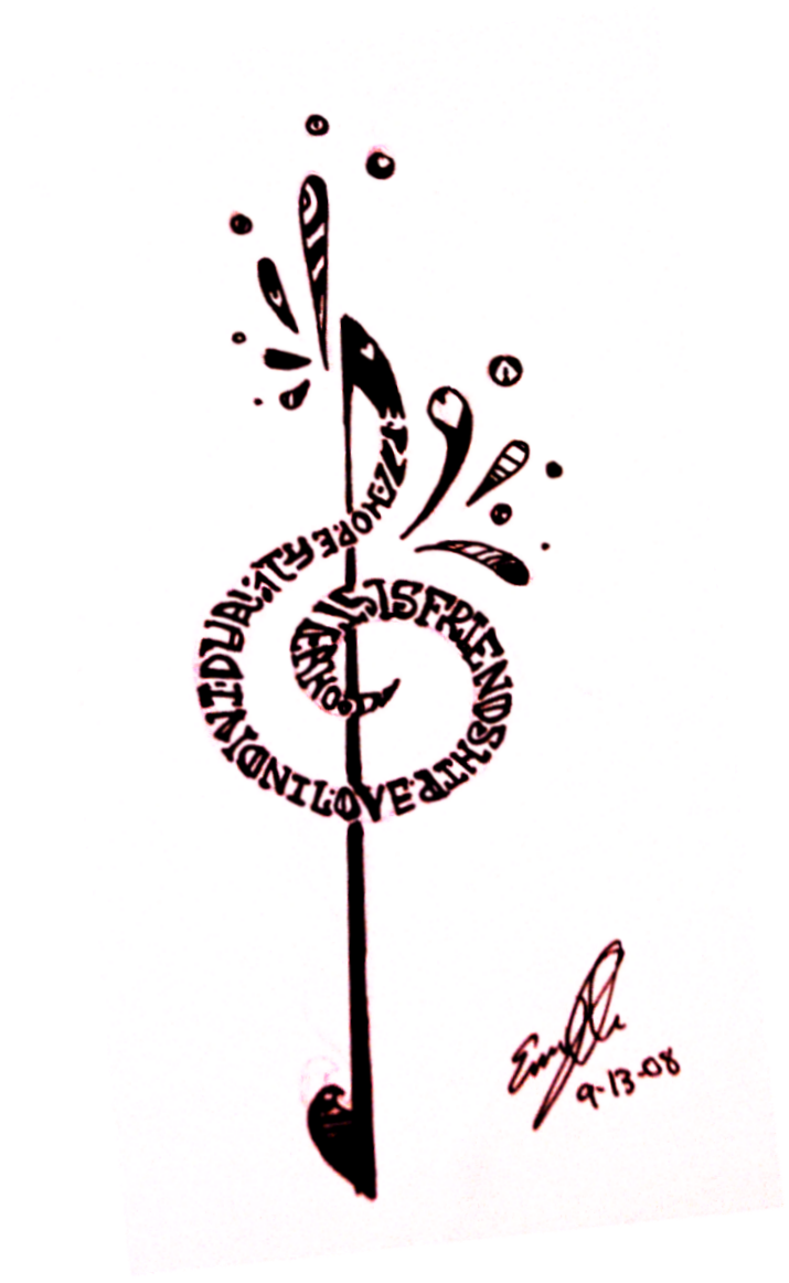 treble clef tattoo by ylimes designs interfaces tattoo design 2008 ...