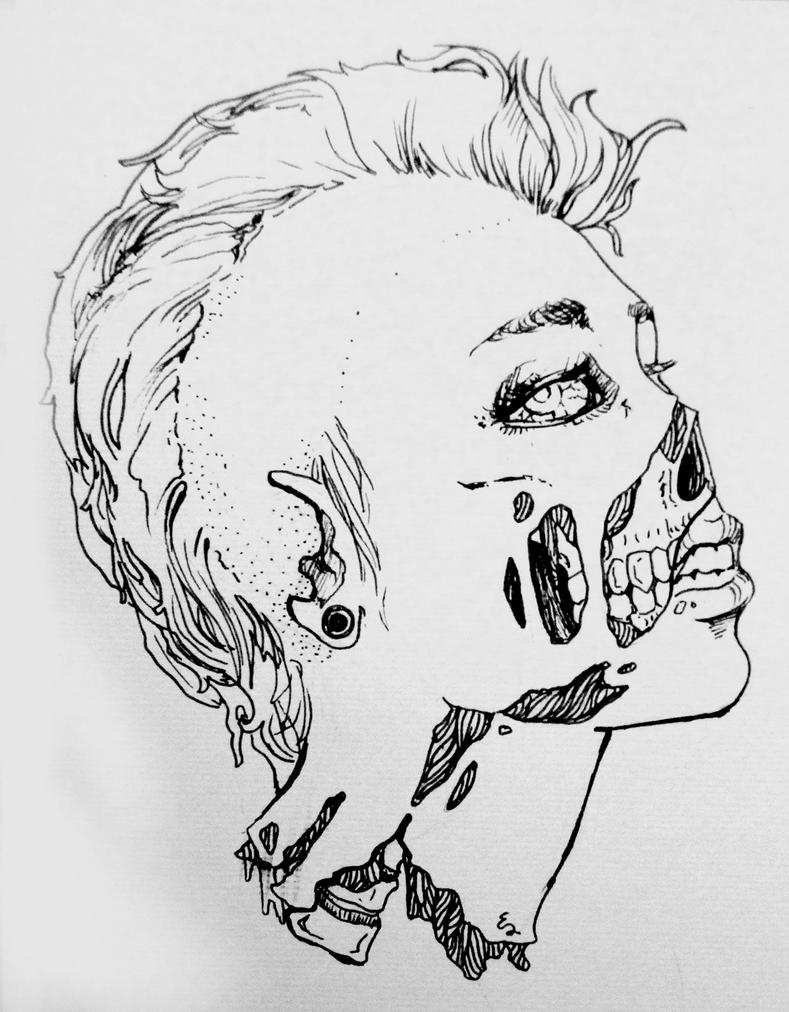 Zombie Face Line Drawing : Zombie girl lineart by ylimes on deviantart