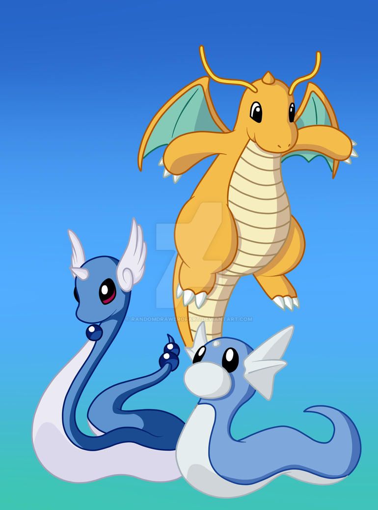 Dratini, Dragonair, and Dragonite by RandomDrawerOfArt