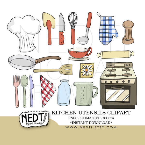 Kitchen Equipment Clip Art ~ Kitchen utensils clip art by nedti on deviantart