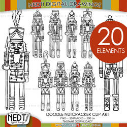Nutcrackers Hand Drawn Clipart Set by Nedti