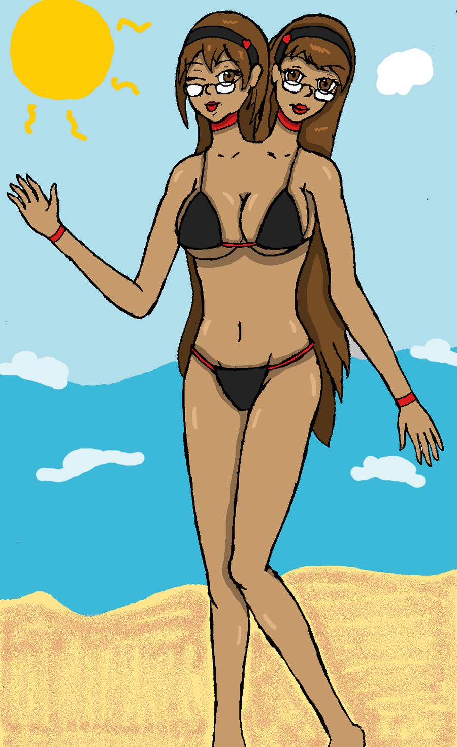 headed girl bikini 2