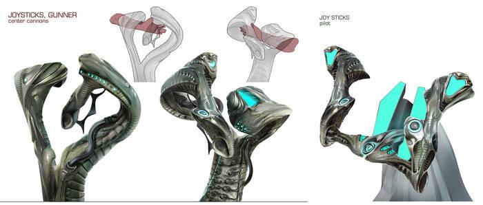 Alien Fighter Cockpit - interior props, joy sticks