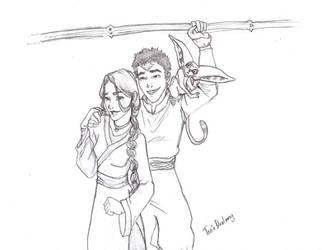Katara and Aang by Dralamy