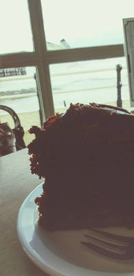 coffee and cake near the sea