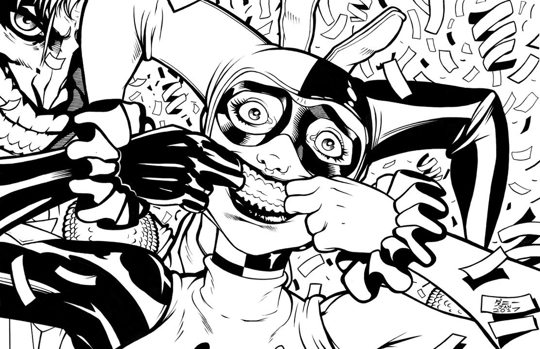 Inks #0034 harley and joker high resolution 300 by danimation2001