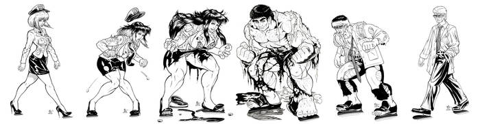Female And Male Hulking Phase1 2 3 Inks commission