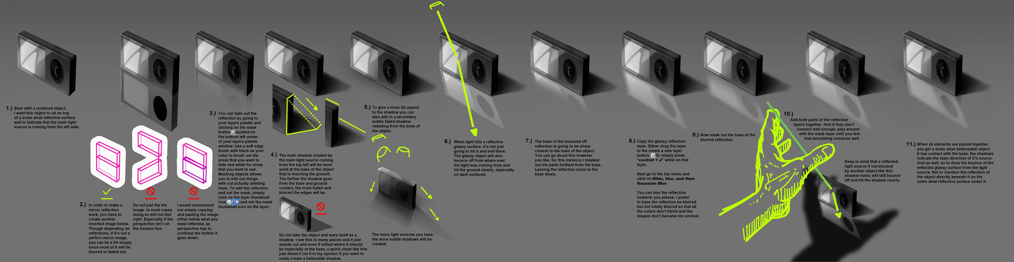 shadow reflection tutorial #0001 Learnuary by danimation2001