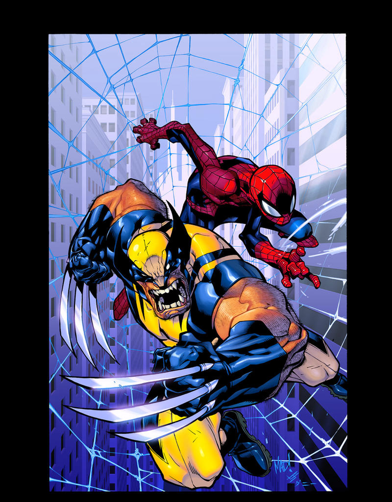 Wolverine spidey by Joemad JSilver colors by Dan by danimation2001