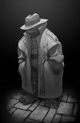 Raph in a greytone trench coat by danimation2001