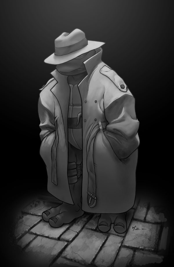Raph in a greytone trench coat