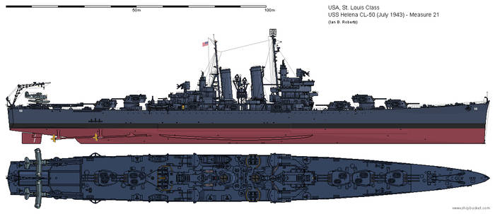 USS Helena CL-50 (July 1943) - Measure 21