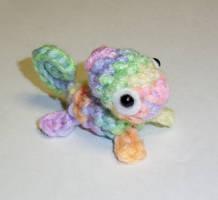 Pastel Rainbow Chameleon Crochet Plush by happysquidmuffin