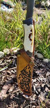 Knife sheath wolf motif #2