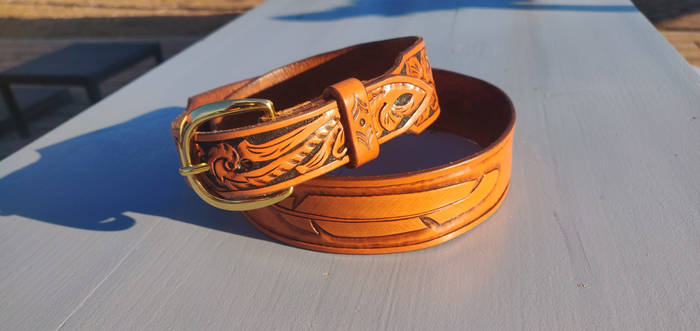 Western floral belt with feather #1