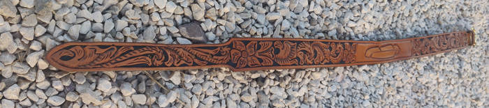 Western floral belt with feather #4