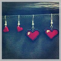 8-bit Heart Earrings by Sherylwoo