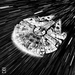 Inktober 25 ship - millennium falcon by mattasticmitchell