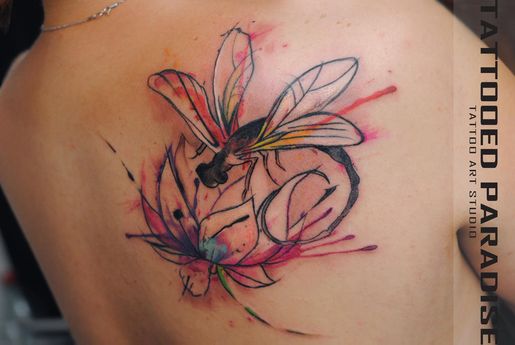 Lotus Flower Tattoo With Dragonfly: Dragonfly Lotus Watercolor Tattoo By Dopeindulgence On