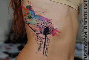 dandelion watercolor tattoo by dopeindulgence