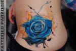 blue rose watercolor