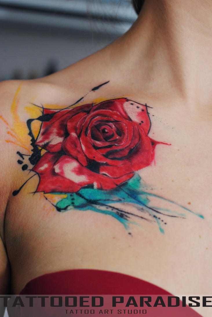 watercolor rose by dopeindulgence