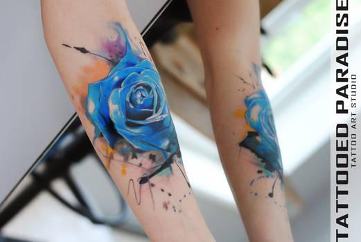 Blue watercolor rose