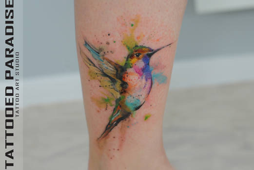 watercolor tattoo hummingbird