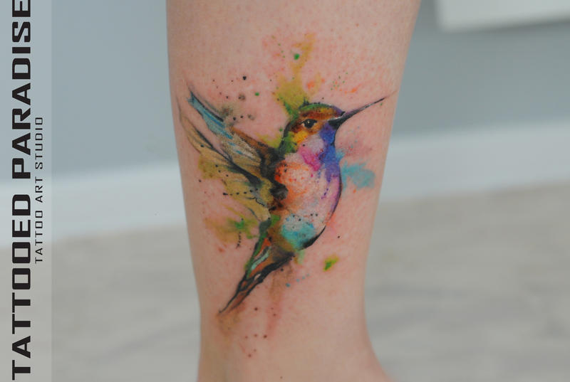Abstract Watercolor Hummingbird Watercolor Tattoo Hummingbird