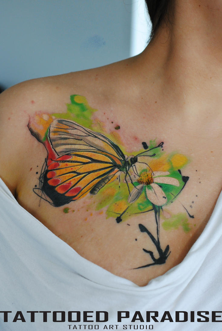 watercolor tattoo butterfly by dopeindulgence