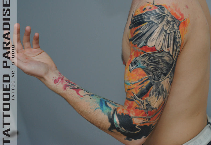 Phoenix watercolor by dopeindulgence on deviantart for Tattoo artist phoenix az