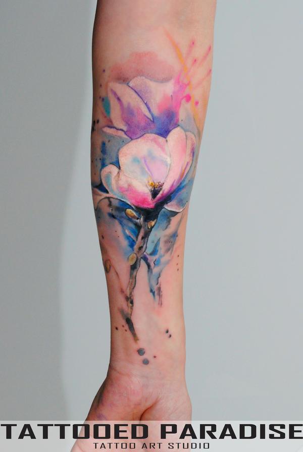 Magnolia WatercolorTattoo by dopeindulgence