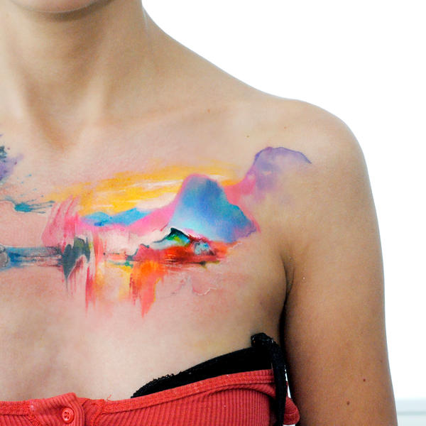 watercolor landscape tatt by dopeindulgence