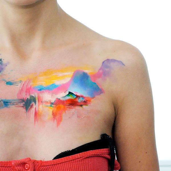 watercolor landscape tatt by dopeindulgence