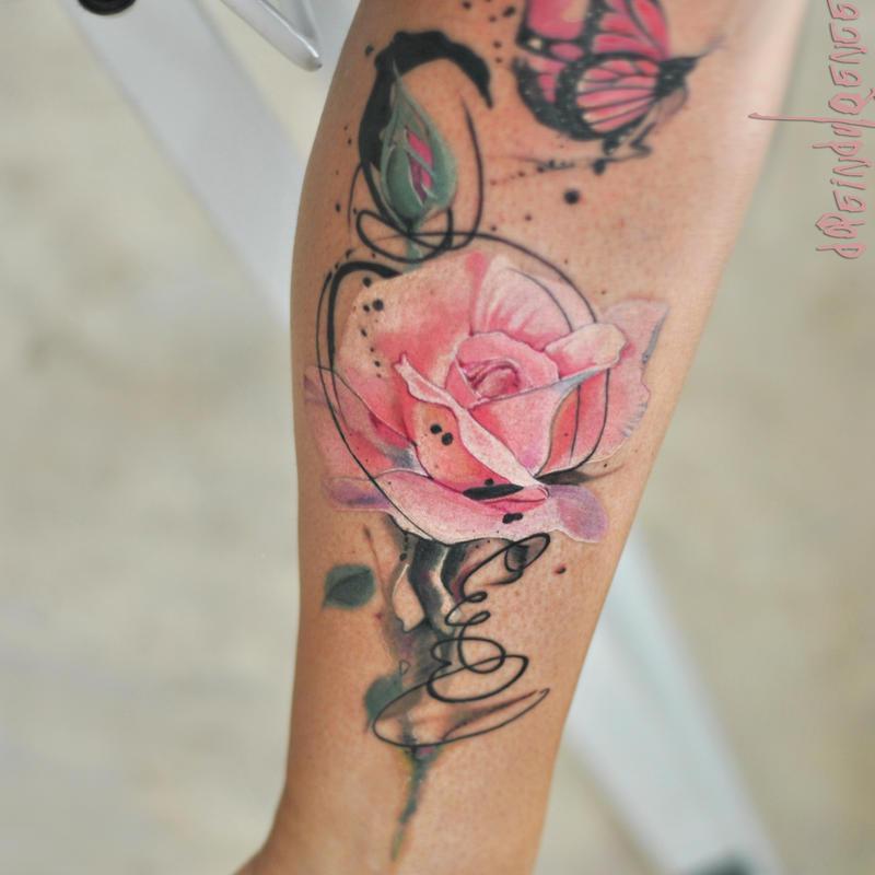 watercolor tattoo flower - 700×700