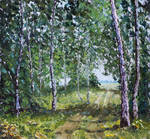 Knife Painting 'Road through the forest'