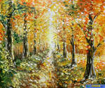 palette knife oil painting 'autumn painting and q