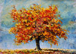 Autumn landscape palette knife painting available