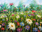 Flowers oil painting Wildflowers. Palette knife.
