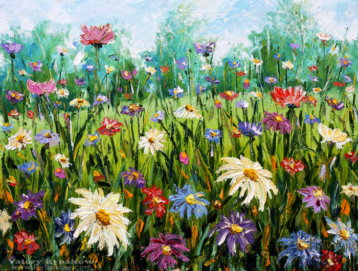 Flowers oil painting wildflowers palette knife by for How to oil paint flowers