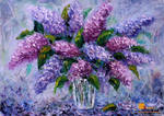 Flowers Oil painting - Bouquet fresh flowers lilac