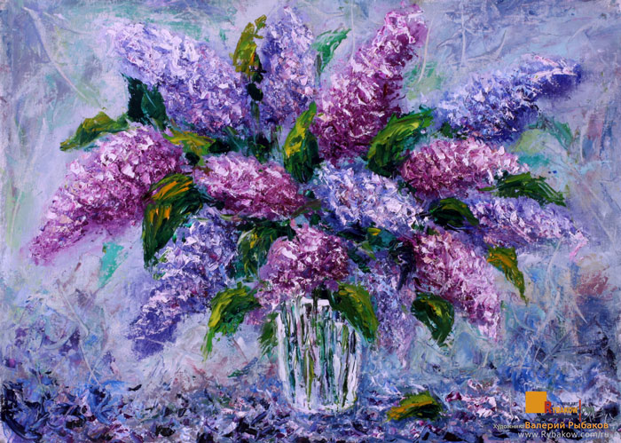 Flowers Oil painting - Bouquet fresh flowers lilac by wwwrybakowcom ...