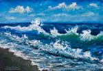 Oil Painting: Wind plays with the sea wave.