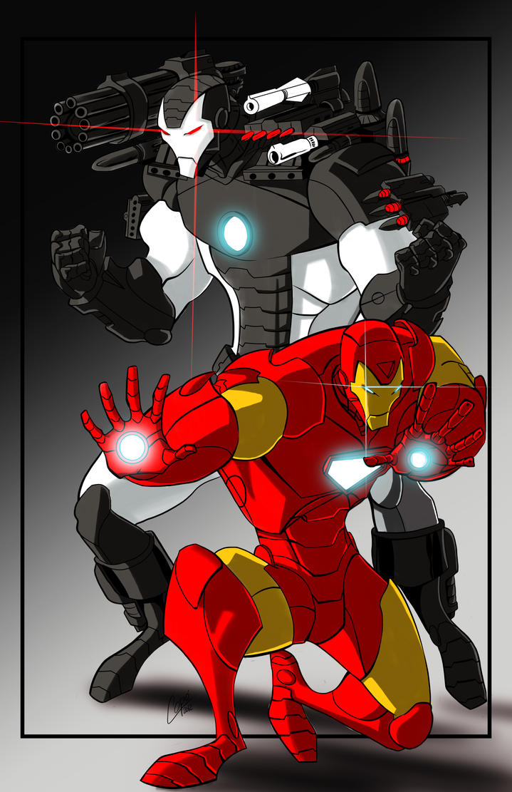 Coloring book pages iron man - Iron Man And War Machine Color By Jorgecopo