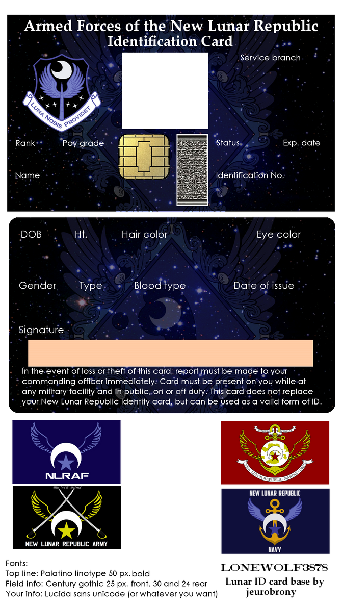 new lunar republic military id card kit by lonewolf3878 on deviantart