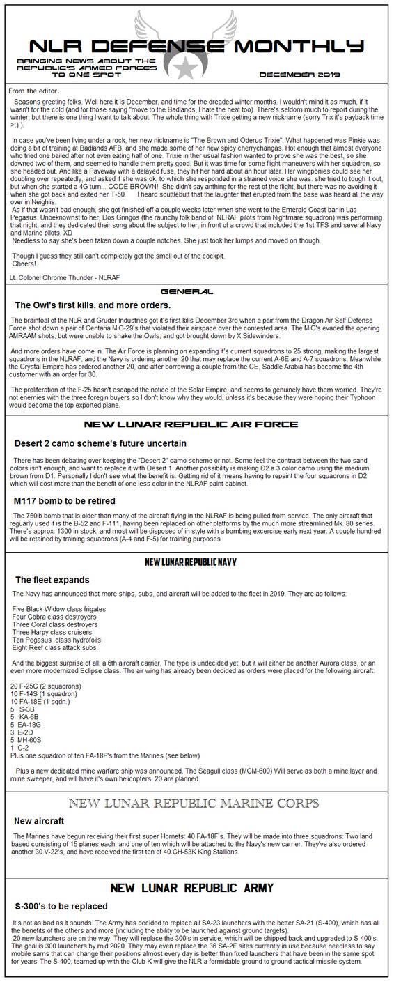 New Lunar Republic Defense Newsletter 3 by lonewolf3878